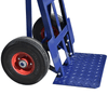 sack truck puncture proof wheels and angled checker-plated footplate