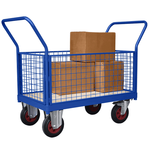 Mesh Sided Platform Truck or Cage Trolley with 4 Sides