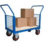 Double Ended Mesh Platform Truck with boxes