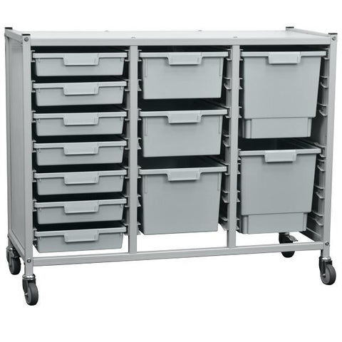 Large tray storage unit for classrooms