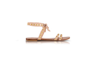 OLIVIA SANDALS - NUDE WITH GOLD STUDS