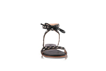 Load image into Gallery viewer, OLIVIA SANDALS - BLACK WITH SILVER STUDS