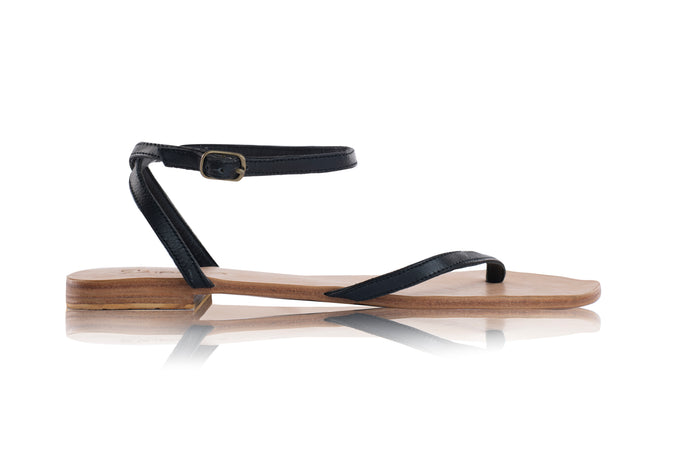 LETI SANDALS - BLACK WITH NUDE BASE