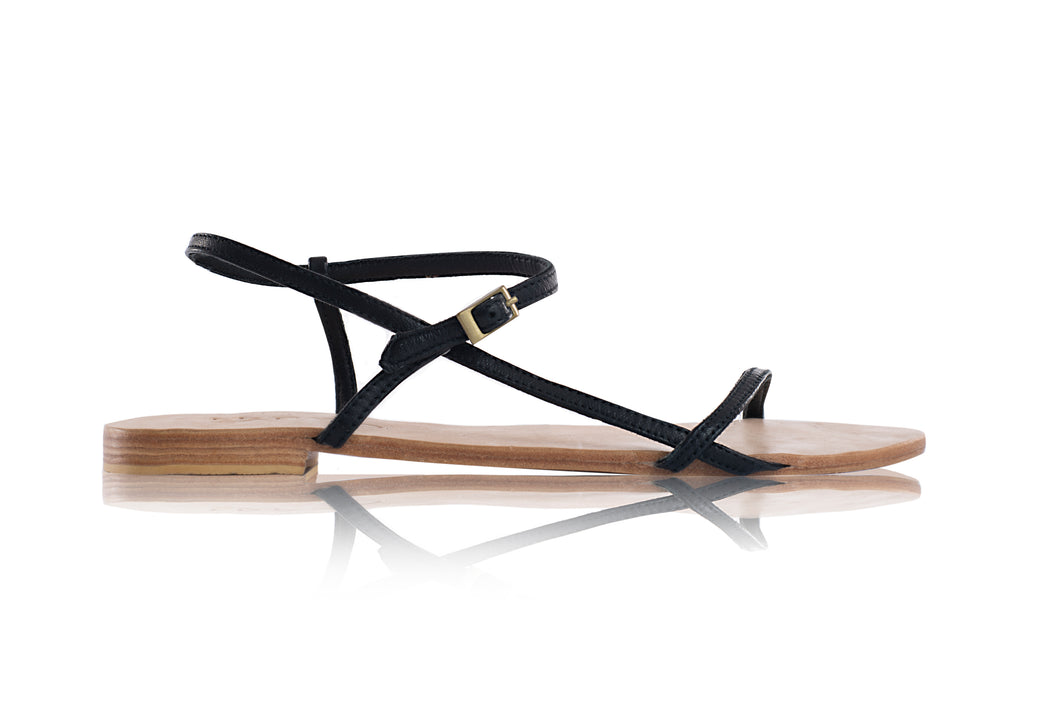 ROSE SANDALS - BLACK WITH NUDE BASE