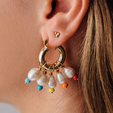 Load image into Gallery viewer, GOLD PEARL DROP EARRINGS WITH RAINBOW BEADS