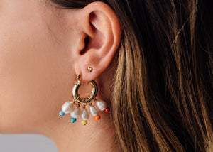 GOLD PEARL DROP EARRINGS WITH RAINBOW BEADS
