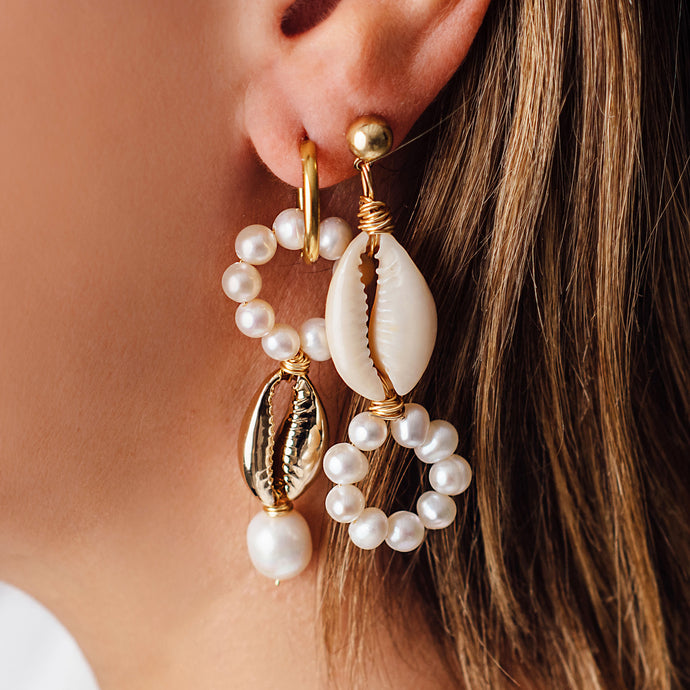 ODD GOLD, PEARL AND SHELL EARRINGS - OUT OF STOCK