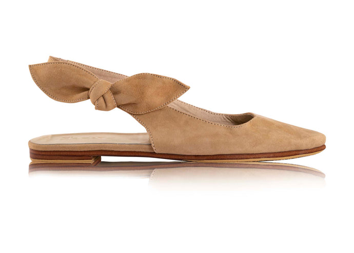 GIGI BOW SLING BACKS - CAMEL (MADE TO ORDER)
