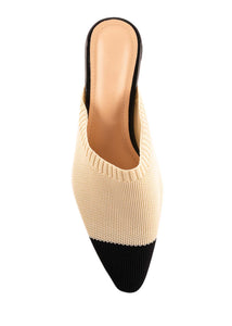 SOPHIE KNIT MULES - NUDE/BLACK COMBO