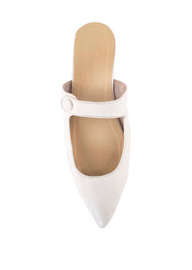 BETTY BUTTON MULES - WHITE (MADE TO ORDER ONLY)