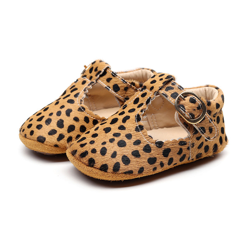 MINI T-BAR LEOPARD MOCCASIN