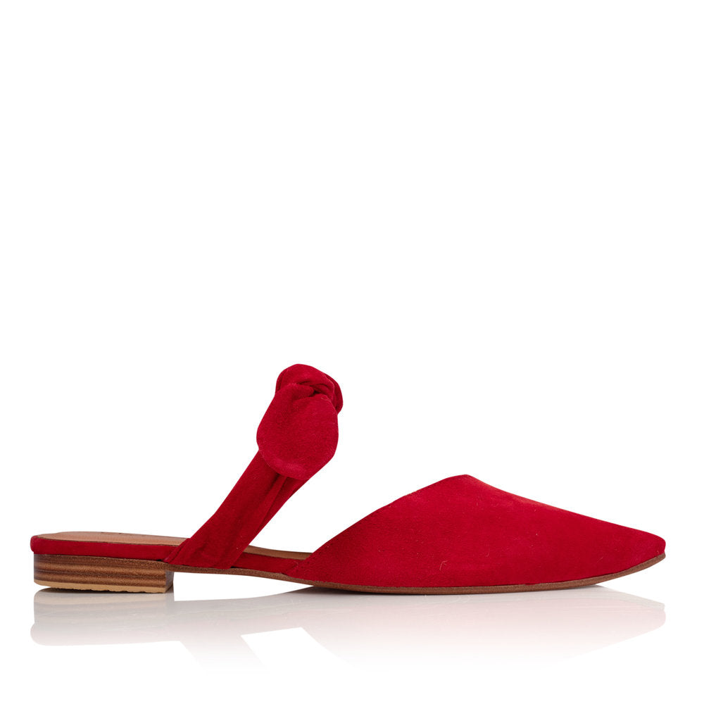 POPPY BOW MULES - RED