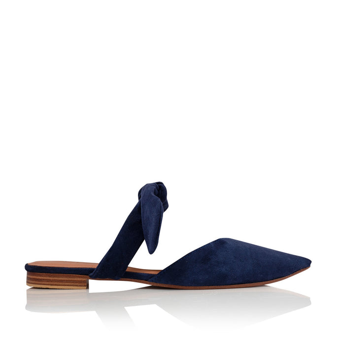 POPPY BOW MULES - NAVY (MADE TO ORDER)