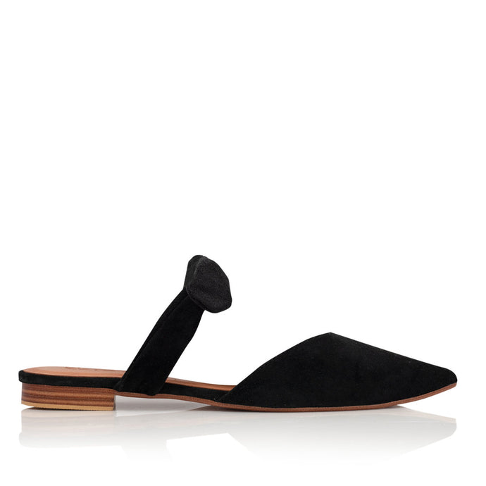 POPPY BOW MULES - BLACK (MADE TO ORDER)