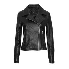 Load image into Gallery viewer, #1 BLACK LEATHER JACKET WITH SILVER ZIPS (CUSTOM MADE)