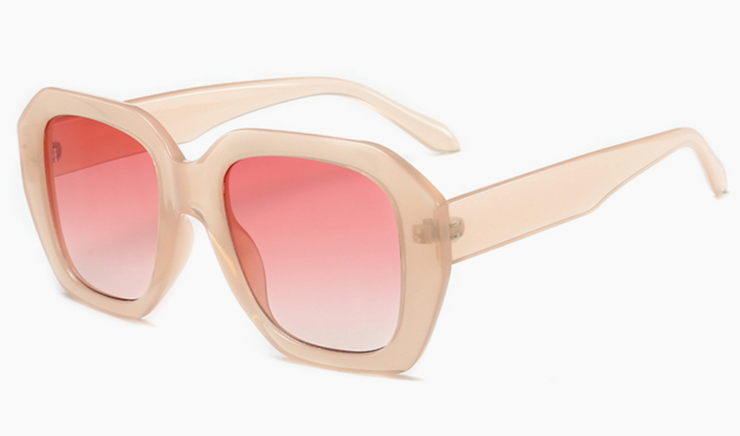 BLUSH WITH PINK LENSE SUNGLASSES