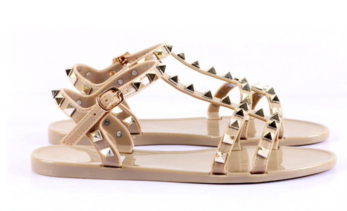 KELLY JELLY STUD SANDALS - NUDE