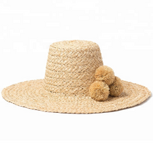 Load image into Gallery viewer, RAFFIA POM POM HAT