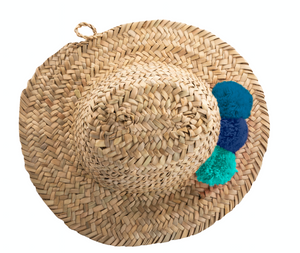 MINI RAFFIA POM POM HAT - BLUE