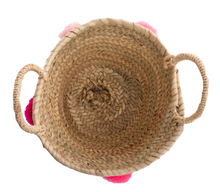 Load image into Gallery viewer, MINI RAFFIA POM POM BASKET - PINK