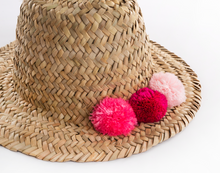 Load image into Gallery viewer, MINI RAFFIA POM POM HAT - PINK