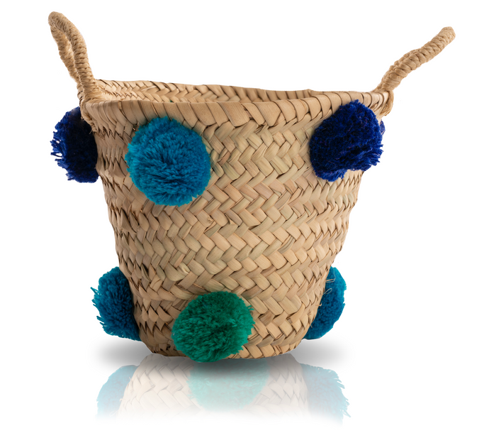 MINI RAFFIA POM POM BASKET - BLUE