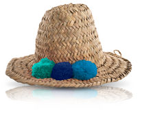 Load image into Gallery viewer, MINI RAFFIA POM POM HAT - BLUE