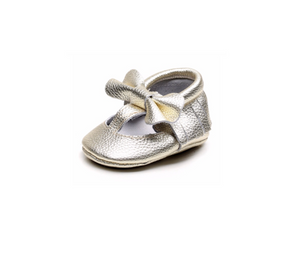MINI BOW MOCCASINS - GOLD