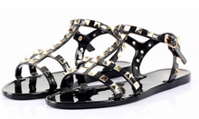 Load image into Gallery viewer, KELLY JELLY STUD SANDALS - BLACK