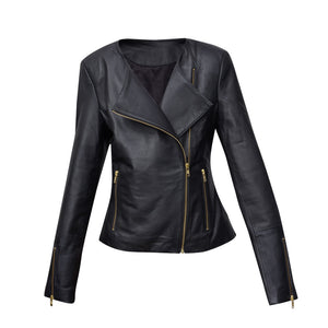 #2 BLACK LEATHER JACKET WITH GOLD ZIPS (CUSTOM MADE)