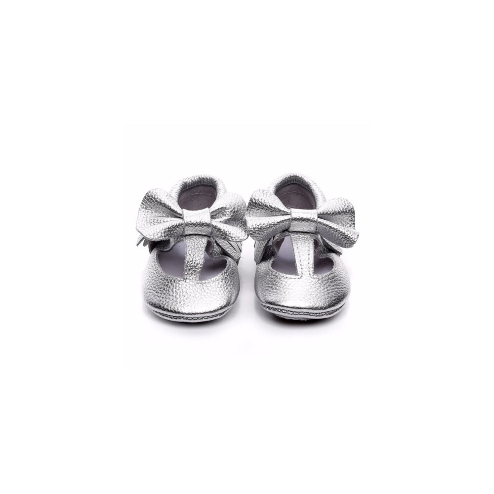 MINI BOW MOCCASINS - SILVER