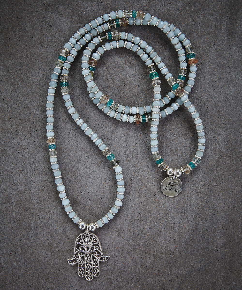 Aquamarine Hamsa Necklace - Zen Sisters