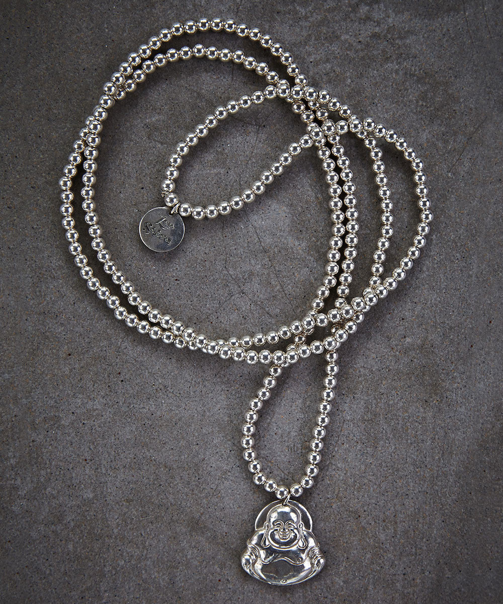 Happy Buddha Silver Necklace - Zen Sisters