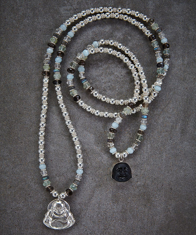 Happy Buddha Onyx Necklace - Zen Sisters