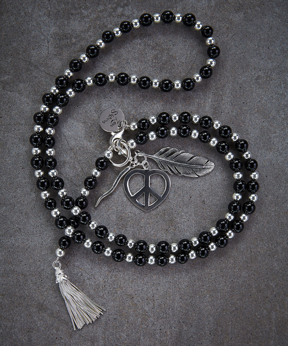 Modern Onyx Rosary Necklace - Zen Sisters