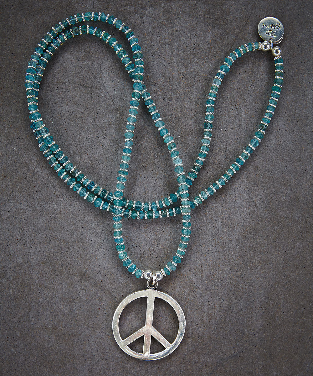 Peace Silver and Apatite Necklace - Zen Sisters