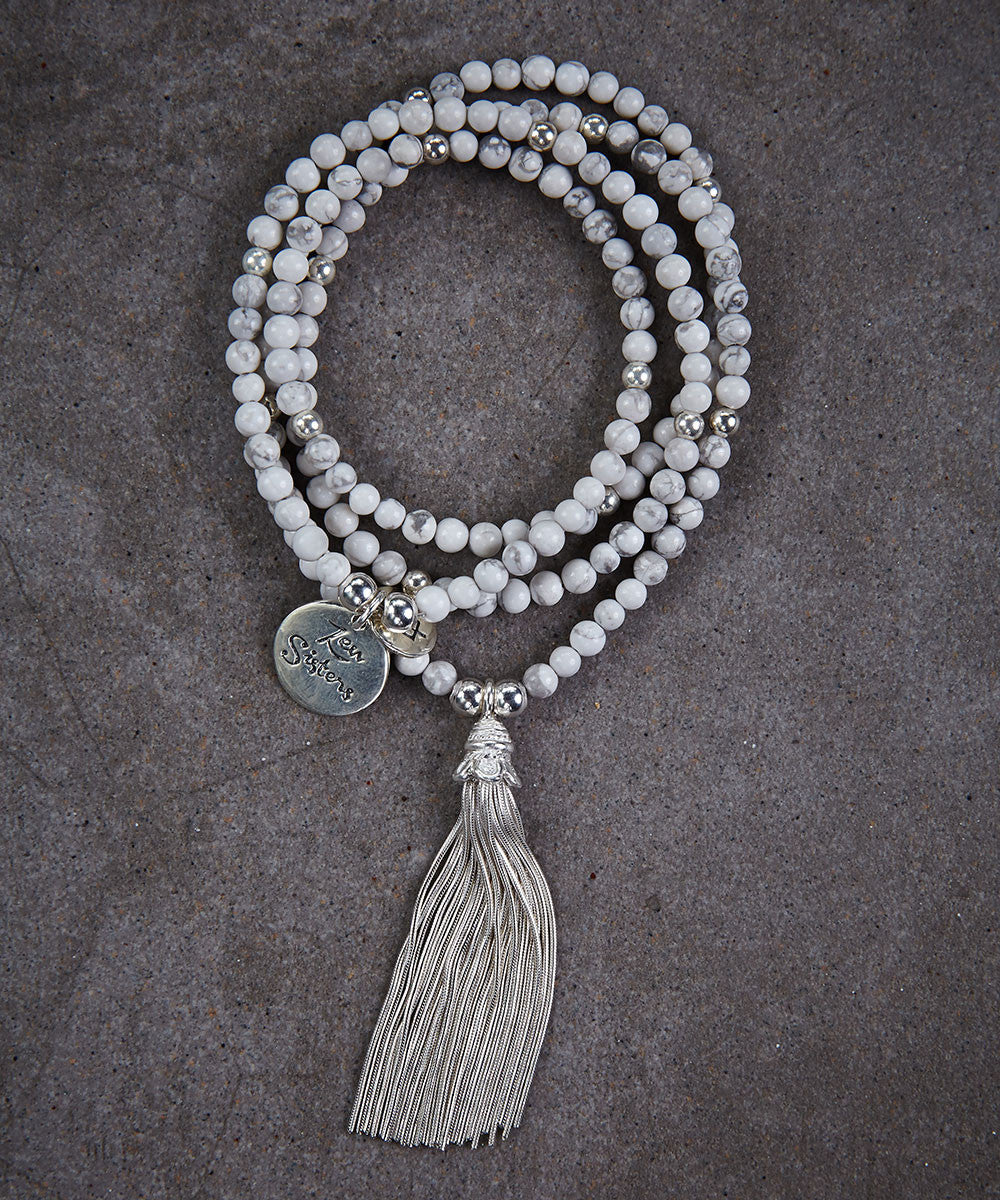 White Howlite Tassel Necklace - Zen Sisters