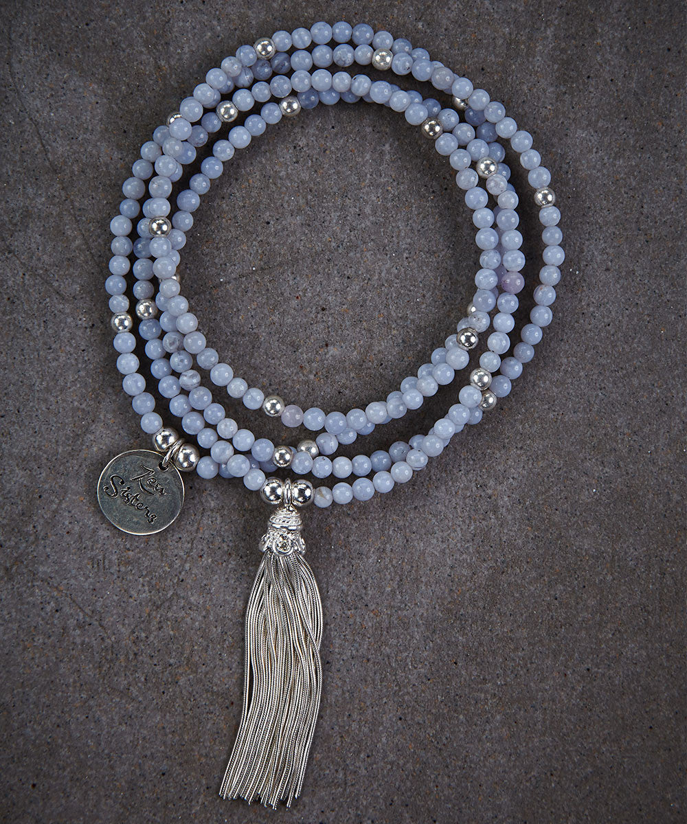 Blue Lace Agate Tassel Necklace - Zen Sisters