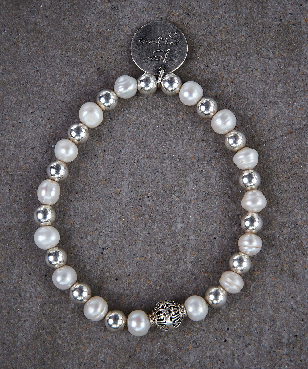 Pearl and Silver Bracelet - Zen Sisters
