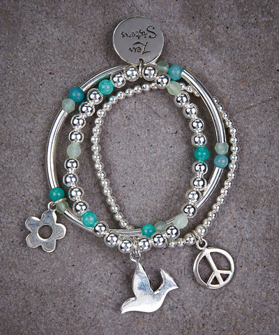 Little Sisters Peace Trio of Bracelets - Zen Sisters