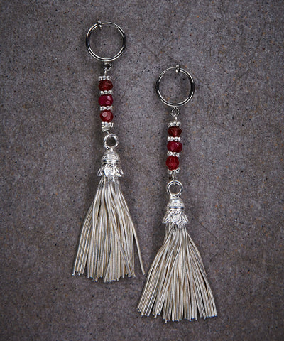 Ruby Red Tassel Earrings - Zen Sisters