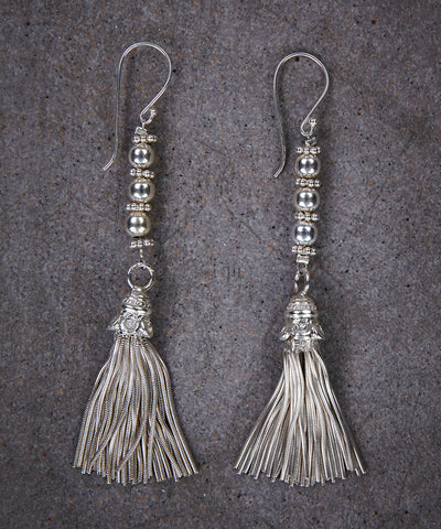 Silver Tassel Earrings - Zen Sisters