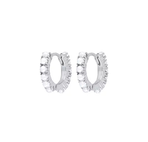 Sterling Silver Pearl Studded Hoop Earrings