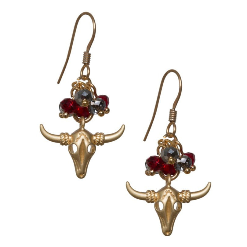 Bull Head with cluster of Swarovski Crystals. Earrings