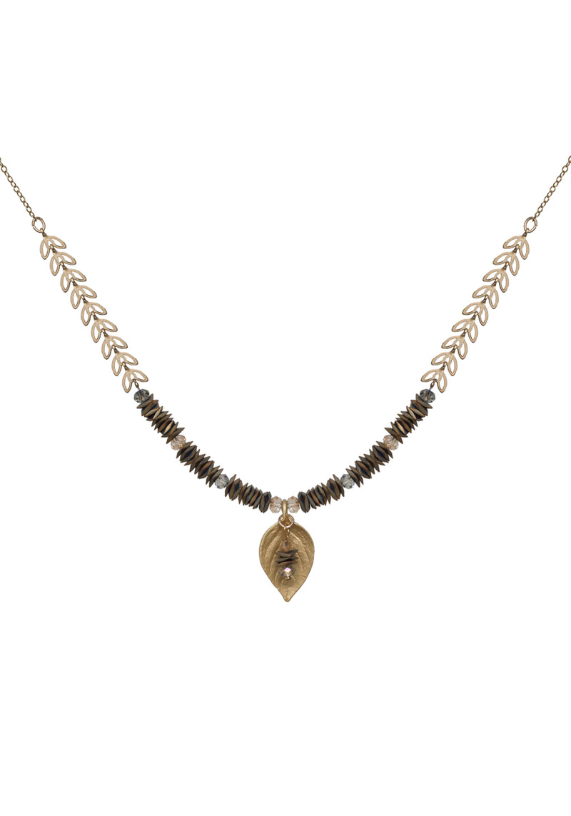 New Leaf with Hematite Necklace