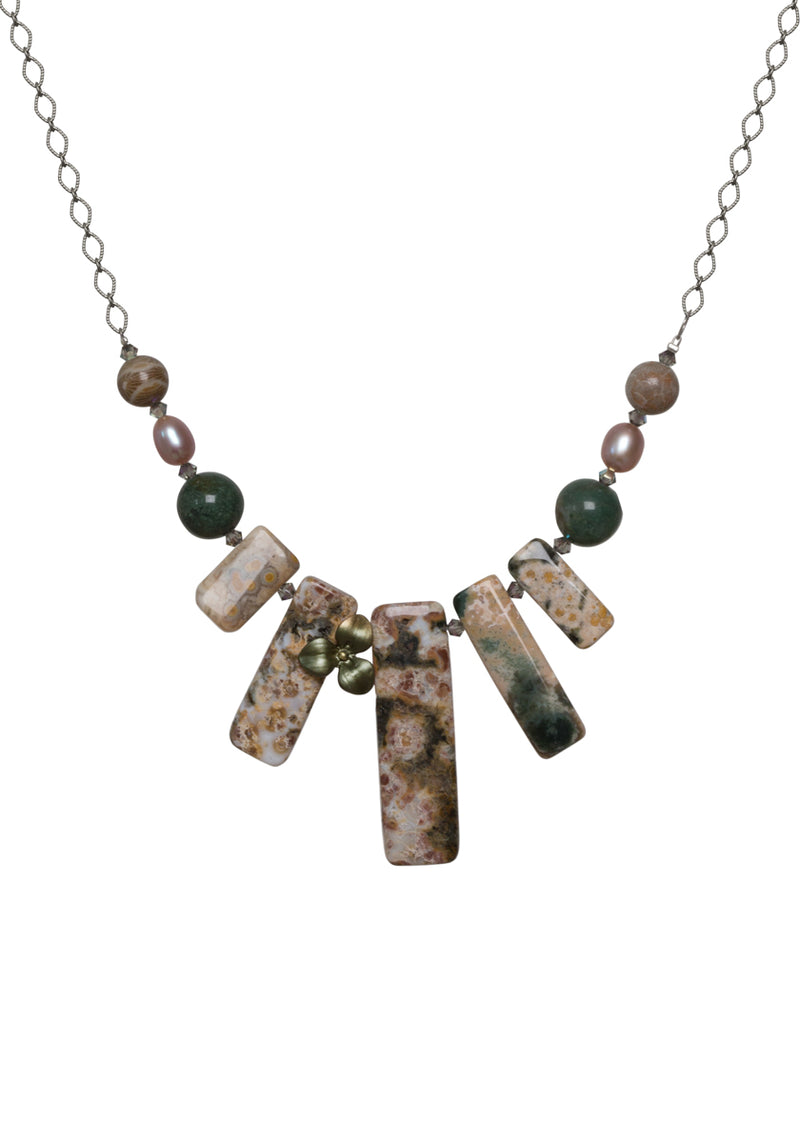 Ocean Jasper with Green Flower Necklace
