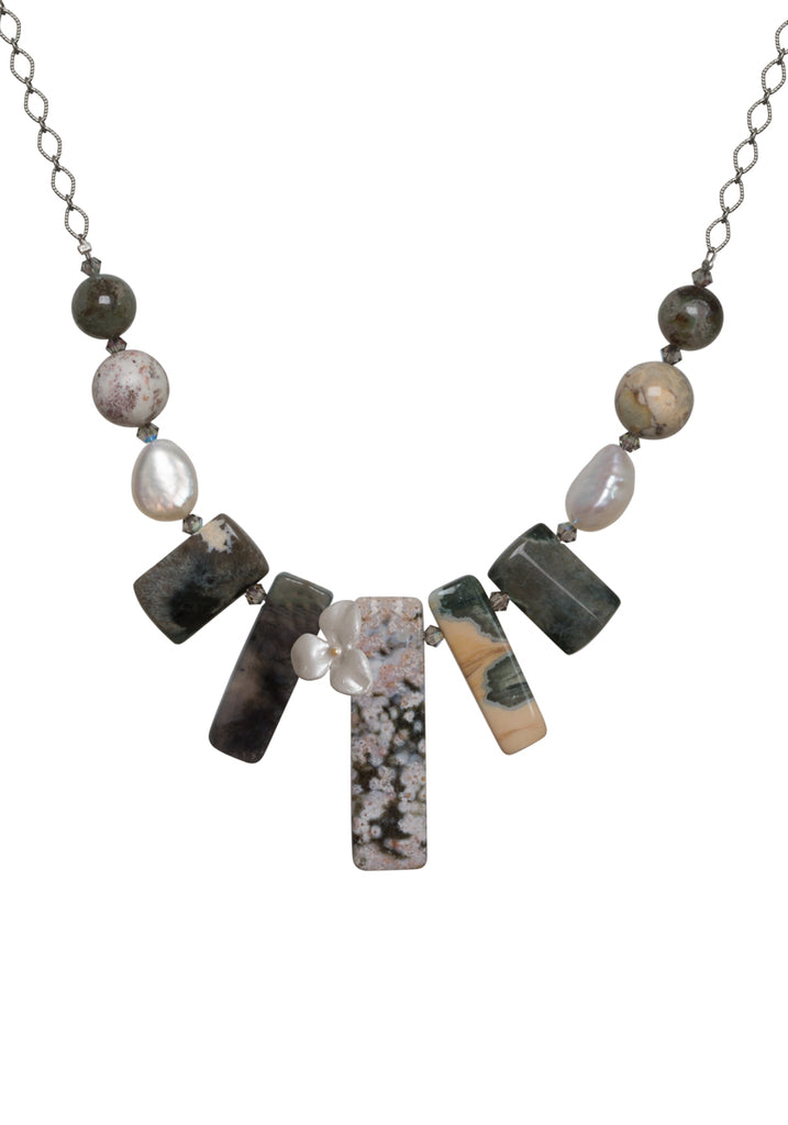 Ocean Jasper with White Flower Necklace