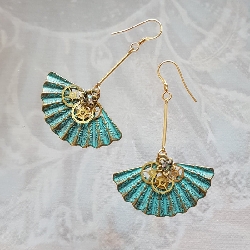 Steampunk Verdigri Fan Earrings