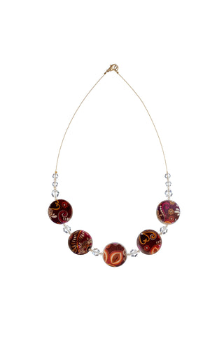 Printed Mother of Pearl Necklace Bronze/Red