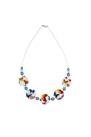 Printed Mother of Pearl Necklace Large Butterflies